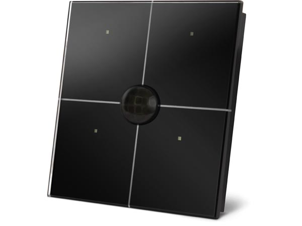 glass control module with 4 touch keys and built-in motion and twilight sensor, black