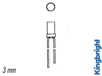 LED PLANO 3mm ROJO DIFUSO