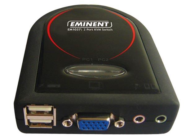 EMINENT - CONMUTADOR KVM DE 2 PUERTOS USB CON AUDIO